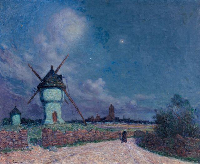 Ferdinand du PUIGAUDEAU 1864 - 1930 Le moulin de Batz-sur-mer au clair de lune Huile sur toile