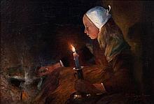 Ferdinand du PUIGAUDEAU 1864 - 1930 Jeune fille à la bougie - 1891 Huile sur carton fin contrecollé sur toile