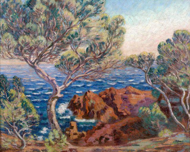 Armand GUILLAUMIN 1841 - 1927 Les roches rouges à Agay, le soir (La pointe de la Male Raigue) - 1899 Huile sur toile