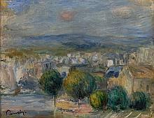 ¤ Pierre-Auguste RENOIR 1841 - 1919 Esquisse, port et ville, vue d''une fenêtre - 1893 Huile sur toile