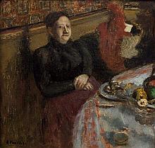 Edouard VUILLARD 1868 - 1940 Madame Vuillard à table - 1898 Huile sur carton