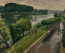 ¤ Albert MARQUET 1875 - 1947 Au bord de la Seine, la Frette Huile sur toile