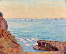 Armand GUILLAUMIN 1841 - 1927 Les voiliers à Saint-Palais - Circa 1895 Huile sur toile