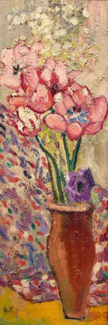 Louis VALTAT 1869 - 1952 Vase de tulipes roses épanouies - Circa 1915 Huile sur papier marouflé sur toile