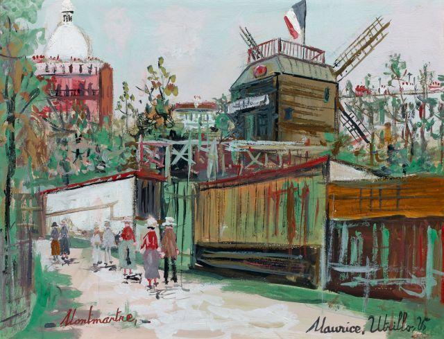 Maurice UTRILLO 1883 - 1955 Montmartre, le Sacré-Coeur et le moulin de la Galette Gouache sur papier