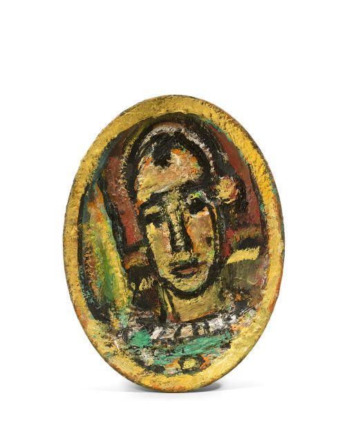 Georges ROUAULT 1871 - 1958 Pierrot (recto) - Bouquet (verso) - Circa 1950 Plat peint ovale