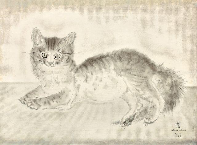 Léonard Tsuguharu FOUJITA 1886 - 1968 Chat gris (Chat souriant) - 1939 Huile sur toile