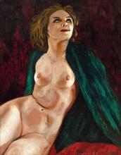 Francis PICABIA 1879 - 1953 Sans titre (Femme au châle vert) - Circa 1940-1943 Huile et crayon sur carton contrecollé sur toile