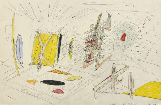 Roberto MATTA 1911 - 2002 Mon noeutre - 1945 Pastel et crayon sur papier