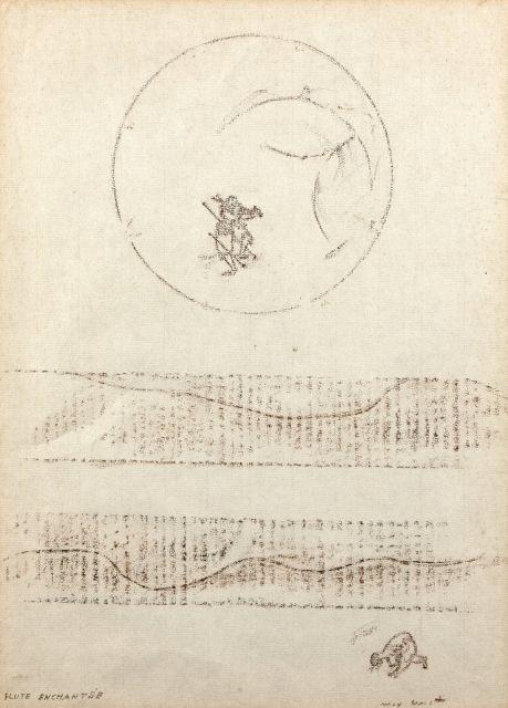 Max ERNST 1891 - 1976 Flûte enchantée - 1966 Frottage et pastel sur papier