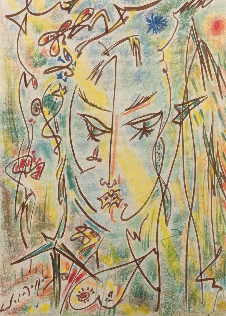 André MASSON 1896 - 1987 Personnage - Circa 1969-1971 Pastel et feutre sur papier