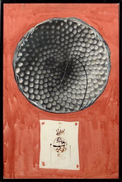 Salvador DALI 1904 - 1989 Assiette en or symbolisant des tournesols - 1961 Gouache et collage sur papier
