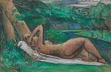 Julio GONZALEZ 1876 - 1942 Nu allongé sous un arbre - 1924 Pastel et crayon sur papier