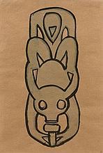 Henri GAUDIER-BRZESKA 1891 - 1915 The Door-Knocker (Etude pour sculpture) - 1914 Encre et aquarelle sur papier