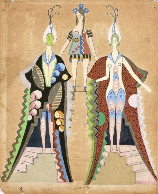 Georges VALMIER 1885 - 1937 Etudes de costumes - 1930 Gouache sur papier