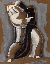 Alexander ARCHIPENKO 1887 - 1964 Moïse présentant les tables de la loi Gouache et crayon sur papier