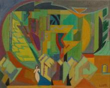 André LHOTE 1885 - 1962 La promeneuse ou Provence ou Paysage provençal - 1953 Huile sur toile