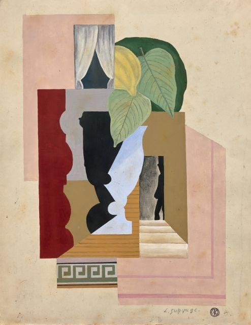 Léopold SURVAGE 1879 - 1968 Composition - Circa 1915 Gouache sur papier