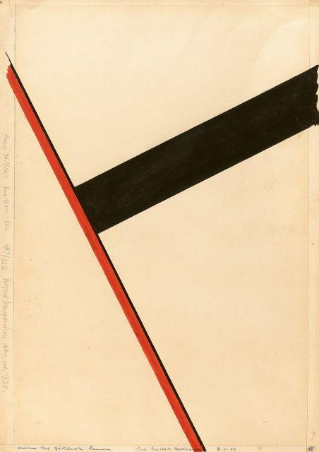 Carl BUCHHEISTER 1890 - 1964 Diagonalkomposition schwarz-rot 334 - 1934 Gouache sur papier