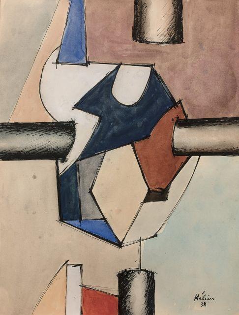 Jean HELION 1904 - 1987 Complexe - 1938 Gouache, aquarelle et encre sur papier