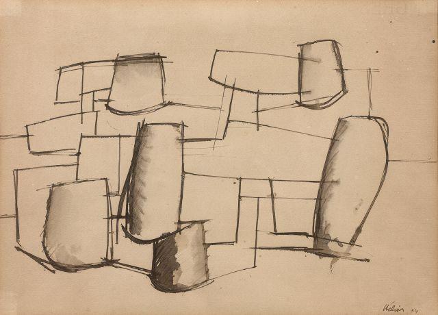 Jean HELION 1904 - 1987 Equilibre - 1934 Encre sur papier