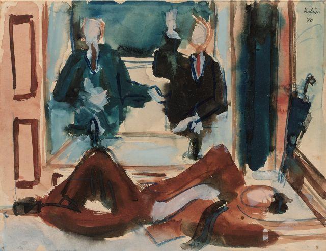 Jean HELION 1904 - 1987 Mannequinerie - 1950 Aquarelle sur papier