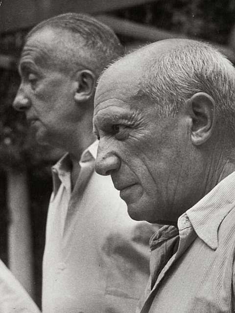 Willy RONIS (1910 - 2009) Picasso et Paul Eluard - Nice, 1950 Epreuve argentique d''époque