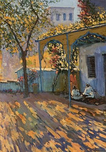 MARIANO BERTUCHI-NIETO (Grenade, 1885 - Tétouan, 1965) PATIO MAROCAIN Huile sur toile