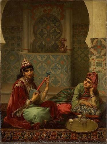 ¤GASTON CASIMIR SAINTPIERRE (Nîmes, 1833 - Paris, 1916) LE CAFE, INTERIEUR ARABE A TLEMCEN Huile sur toile