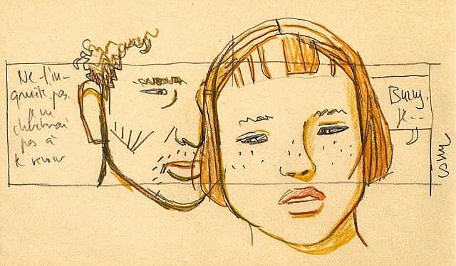 COSEY Bernard Cosandey dit (né en 1950) UNE MAISON DE FRANK L. WRIGHT Mine de plomb et crayon gras pour un dessin préparatoire. Sign...