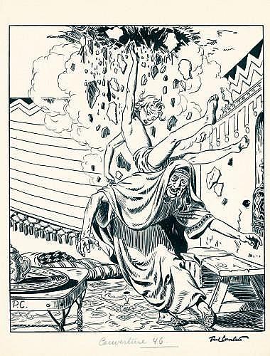 CUVELIER Paul (1923 - 1978)  CORENTIN FELDOË Encre de Chine pour la couverture de l'édition belge du journal Tintin n°46 daté du 13 ...