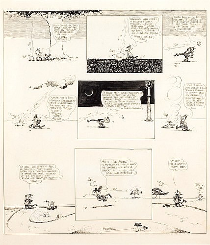 HERRIMAN George (1880 - 1944) KRAZY KAT Encre de Chine pour un gag en 1 planche réalisé etpublié en 1919. Publié dans «The Com...