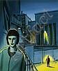 LOUSTAL Jacques de (né en 1956) LA PASSERELLE Encre de Chine, aquarelle de couleur et pierre noire pour l'affiche du Salon du ..., Jacques Loustal, Click for value