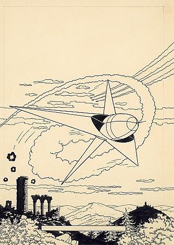 MARTIN Jacques (1921 - 2010) LEFRANC Encre de Chine pour la couverture de l'album «La Grande Menace», 1eralbum de la série, ...