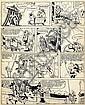 UDERZO Albert (né en 1927)  BELLOY Encre de Chine pour la double-planche 130 et 131 de cette série prépubliée dans le magazine OK ve..., Albert Uderzo, Click for value