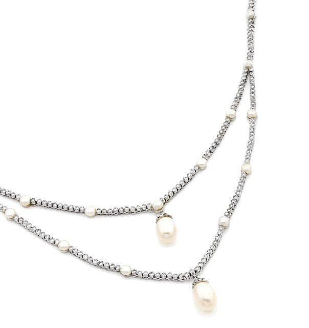 A DIAMOND, CULTURED PEARL AND WHITE GOLD NECKLACE