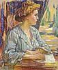 Jean Misceslas PESKE (Golta, 1870- Le Mans, 1949) FEMME A LA LECTURE Pastel sur carton