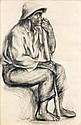 Balthazar LOBO (Cerecinos de Campos, 1910 - Paris, 1993) LE PAYSAN Dessin au crayon sur papier