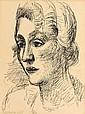Marcel GROMAIRE (Noyemmes-sur-Sambre, 1892 - Paris, 1971) PORTRAIT DE FEMME, 1925 Dessin à l'encre sur papier