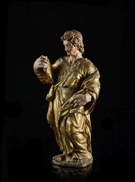 École Siennoise du XVIe siècle Saint Apôtre Statue en bois polychromé et doré