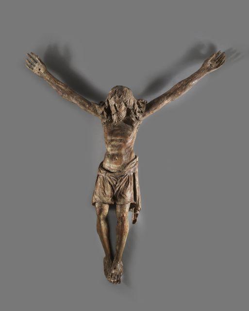 Ecole d''Italie du Nord, vers 1500 Grand Corpus Christi Sculpture en bois avec traces de polychromie