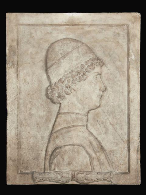 Ecole lombarde vers 1480 Portrait d''un jeune homme de profil Sculpture en bas relief de marbre blanc