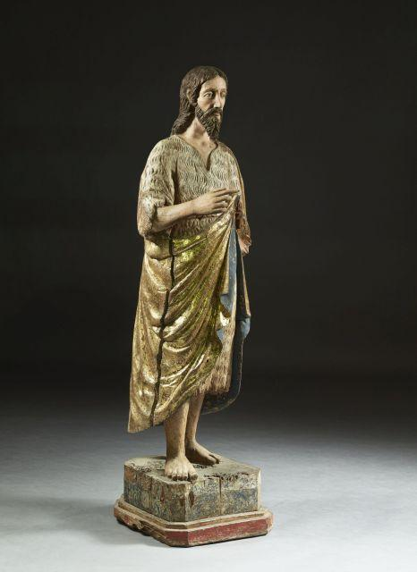 École Espagnole du XVIe siècle Saint Jean Baptiste Statue en bois dur polychromé et doré