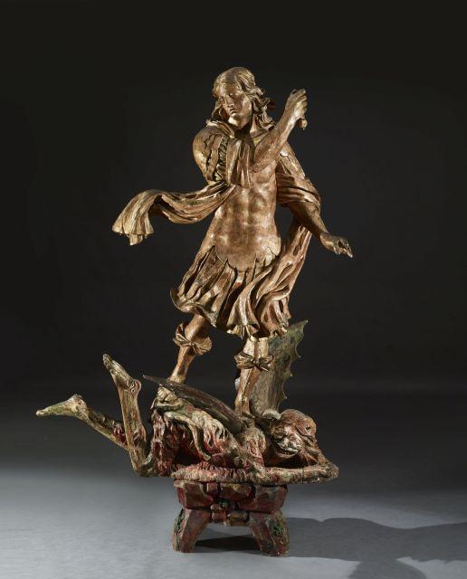 Justus Glesker (Hameln vers 1615-Francfort sur le Main 1678), attribué à Saint Michel terrassant le démon Statue en ronde bosse de b...
