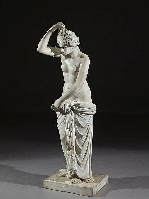 Jean-Baptiste Boudard (1710-1768), d''après l''Antique Vénus céleste Sculpture en marbre blanc