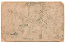 Ecole du Nord vers 1600  Scène allégorique Plume et encre brune, lavis indigo