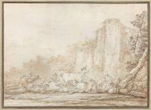 Francesco Giuseppe Casanova Londres, 1727 - Vorderbrühl, 1802 Vachers et leur troupeau dans un paysage Lavis brun sur trait de crayo...