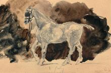 Eugène Delacroix Charenton-Saint-Maurice, 1798 - Paris, 1863 Cheval à l'écurie Mine de plomb, lavis brun et noir