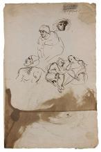 Eugène Delacroix Charenton-Saint-Maurice, 1798 - Paris, 1863 Feuille d'études avec Mephistophélès et autres personnages Plume et enc...