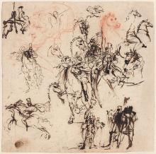 Antoine-Jean Gros, baron Gros Paris, 1771 - Meudon, 1835 Etudes de figures, cavaliers et chevaux Plume et encre brune, sanguine
